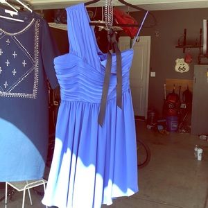 One shoulder periwinkle dress